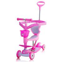 儿童滑板车四轮闪光宝宝学步车带音乐护围五合一儿童滑板车 枚红色(带音乐)