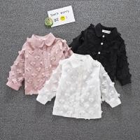 女宝宝衬衫长袖春秋白黑色女童打底衫1-3岁婴儿纯棉韩版花朵上衣