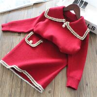 女童针织衫套装儿童毛衣+半身裙两件套