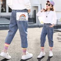 女童牛仔裤春装儿童时髦春秋老爹裤哈伦裤