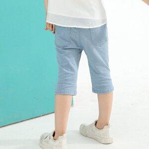 【尾品汇 5折直降】amii童装2017夏季女童牛仔裤短裤精致绣花薄款透气五分裤中裤