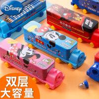 迪士尼马口铁双层文具盒小学生创意可爱铅笔盒文具收纳盒火车造型男女孩笔盒带削笔器玩转Disney蜘蛛侠美队