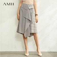 【到手价:140元】Amii极简时尚不规则格纹拼接半身裙2020春季新款A字裙中长款裙子