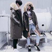 韩版棉袄情侣装大毛领棉衣男女中长款加厚学生冬天工装外套潮