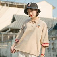 夏季POLO领五分袖T恤女学生宽松刺绣中袖保罗衫上衣 卡其色