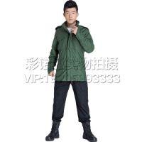 保暖迷彩内胆连帽抓绒 防风防水   绿色M65迷彩风衣   外套军迷服饰