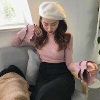 韩观2017秋装新款修身双层荷叶边喇叭袖毛衣针织衫半高领长袖上衣女版 均码