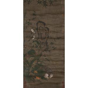 X1480 黄荃《竹雀》(多位名家收藏章)