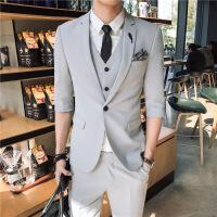 潮流九分西装套装男修身韩版青少年帅气七分袖休闲西服男半袖