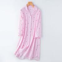 日系家居服夏季纱布七分袖透气速干薄款少女装衬衫睡裙子睡衣