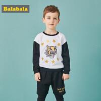 【3折价:71.7】巴拉巴拉童装男童套装宝宝秋装新款儿童运动装小童长裤假两件