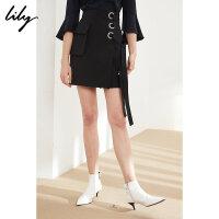 Lily2018春新款女装OL侧绑带显瘦高腰短裙口袋半身裙118129C6907