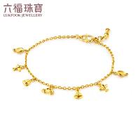 六福珠宝足金手链环游世界黄金手链女款 GMGTBB0018
