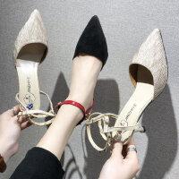 韩版尖头女士中空浅口单鞋 新款细跟一字扣带高跟鞋女时尚包头凉鞋