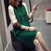 秋冬中长款毛衣女套头韩版过膝2017新款宽松打底衫长袖针织连衣裙