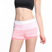 运动短裤女2017夏季新款假两件健身房瑜伽短裤防走光粉色性感裤子 粉色