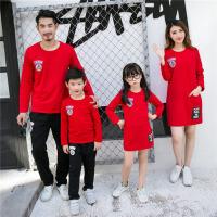 2016新款亲子装秋装一家三口母女装连衣裙母子套装长袖家庭装 红色