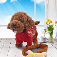儿童电动毛绒玩具狗狗会唱歌跳舞仿真泰迪牵绳走路电子小狗机器狗