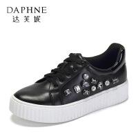 Daphne/达芙妮 春秋休闲系带平底布洛克女鞋女鞋