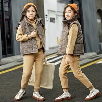 女童套装秋冬季中大童韩版时尚洋气女孩加绒三件套