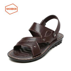 达芙妮旗下shoebox鞋柜 男士简约休闲凉鞋透气防滑男鞋沙滩鞋凉鞋
