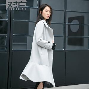 对白荷叶边下摆毛呢大衣女中长款冬季气质简约呢子外套
