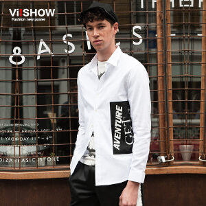 viishow秋装新品男士长袖衬衫纯棉字母印花衬衣青年方领寸衫