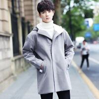 羊毛呢子大衣男中长款青年加厚风衣冬季韩版修身潮流连帽毛呢外套 X
