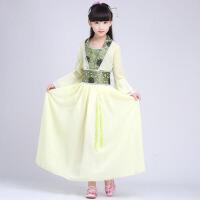 女童汉服演出服公主古典舞表演服 儿童古装服装仙女装 浅 黄色