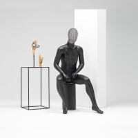 男模特道具全身镂空头服装店假人橱窗展示道具黑色韩版男装模特架