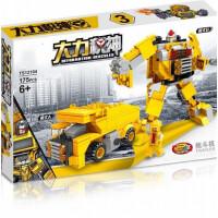 儿童积木玩具 工程机器人拼装积木玩具汽车男孩儿童礼盒装生日礼物 巧克力色 12104-3拖斗机两