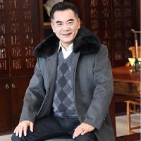 中年男装冬季加厚加绒中长款呢子外套50-60岁老人獭兔毛领呢大衣