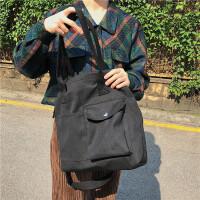 韩国新款ins斜跨帆布包女单肩包秋冬学生上课百搭大容量手提布包