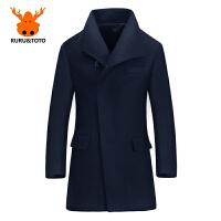 秋季男士风衣中长款英伦冬季男款毛呢外套修身呢子大衣男韩版 黑色 0 5XL