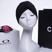 泳帽女长发女士加大不勒头时尚可爱褶皱温泉大号游泳帽布