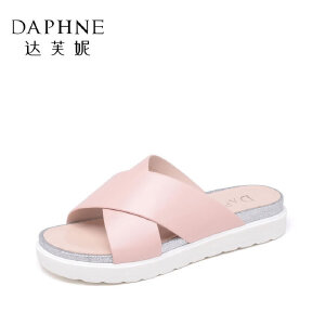 Daphne/达芙妮女鞋 夏季懒人女拖鞋甜美简约平底女凉鞋拖鞋-