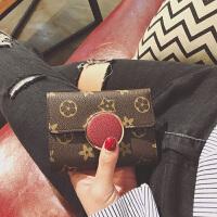 七夕礼物2018欧美老花小钱包女短款圆形搭扣印花三折叠复古多卡位钱夹 红色