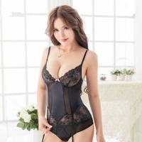 激情套装女士性感塑身吊袜带睡衣蕾丝网袜钢托内衣套装 黑色 均码