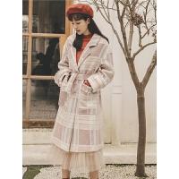 粗花呢格子毛呢外套秋冬女装2019新款韩版中长款宽松时尚呢子大衣