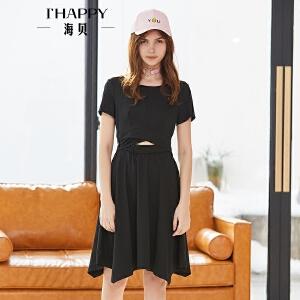 海贝2018夏装新款女 圆领短袖松紧腰修身大摆型连衣裙显瘦小黑裙