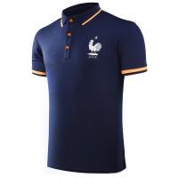 法国队宝蓝色T恤男款运动休闲夏季新款足球polo衫欧洲杯 深蓝色