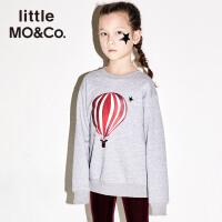 【折后价:98.7】littlemoco秋冬新品女童卫衣男童卫衣潮款圆领热气球印花套头卫衣