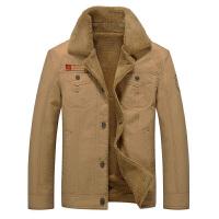 秋冬男士加绒加厚夹克军工装外套宽松纯棉青年夹克外套潮