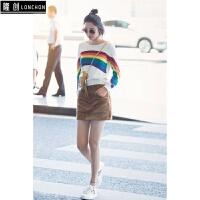 秋装周唐艺昕街拍同款彩虹撞色针织衫韩版套头毛衣长袖上衣 图片色