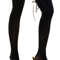 情趣内衣交叉绑带性感长筒袜丝袜性感高筒袜TC 赫本黑 均码