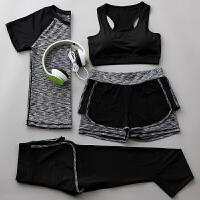 瑜伽服套装四件套 显瘦健身服女跑步运动服短袖春夏