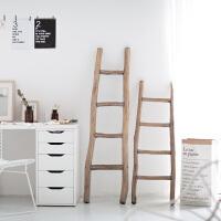创意摆件家居用品家居家装饰品美式乡村实木梯子拍摄摄影陈列道具 白色大号