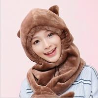 帽子女冬季可爱韩版潮休闲百搭护脖帽子冬天保暖口罩护耳围脖帽