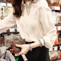 雪纺衬衫女长袖2018春装新款潮学生宽松韩版百搭花边刺绣白衬衣女