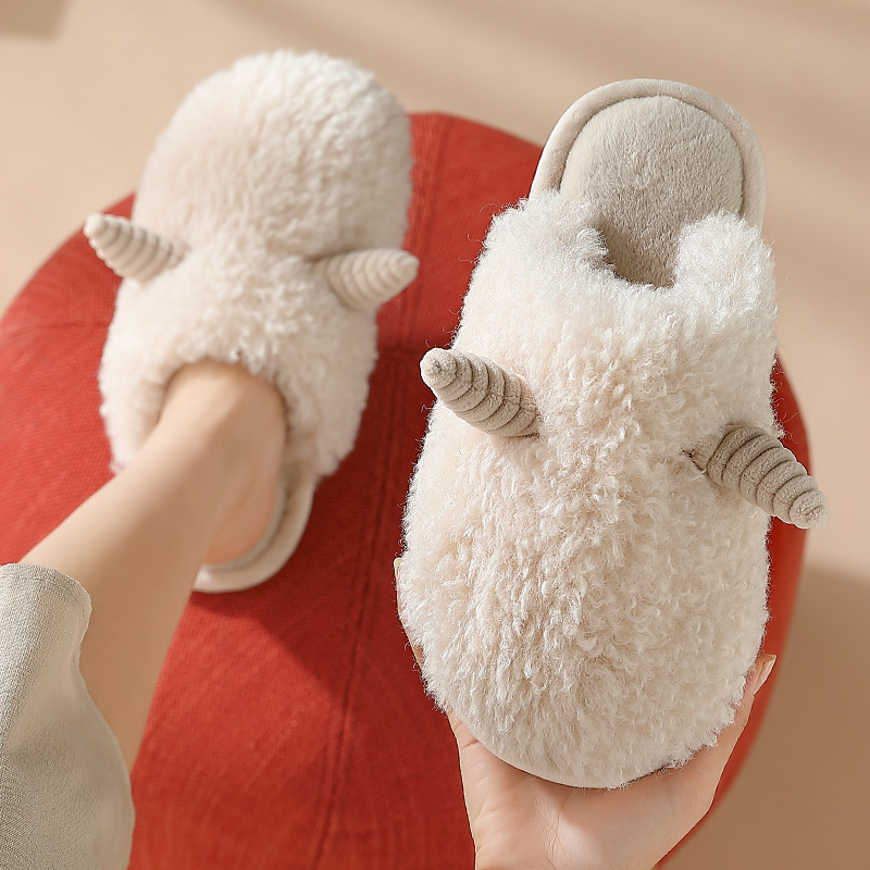 棉拖鞋女冬天卡通可爱室内保暖防滑情侣软底毛绒拖鞋男家用秋冬季
